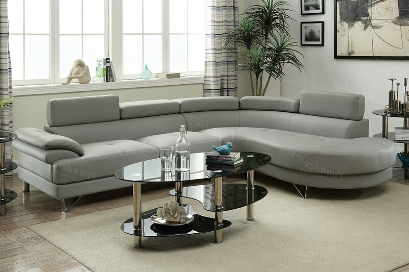 F6984 2 pc Madison collection light grey faux leather upholstered sectional sofa set with rounded chaise