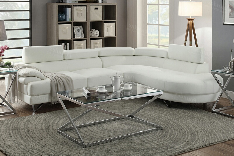 F6985 2 pc Madison collection white faux leather upholstered sectional sofa set with rounded chaise