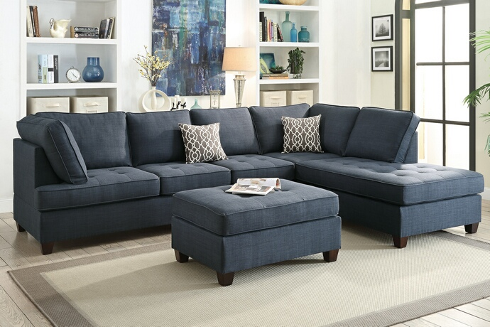 F6989 2 pc Jackson collection dark blue dorris fabric upholstered sectional sofa with reversible chaise lounge
