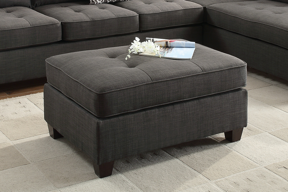 F6992 Jackson collection ash black dorris fabric upholstered ottoman