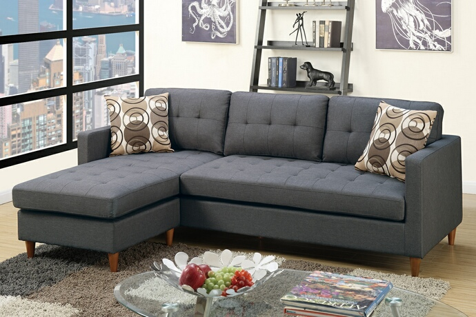 F7094 2 pc Leta collection blue grey polyfiber fabric upholstered apartment size sectional sofa with reversible chaise
