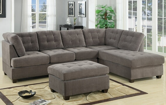 F7139 2 pc Charcoal waffle suede fabric upholstered reversible sectional sofa with chaise lounger