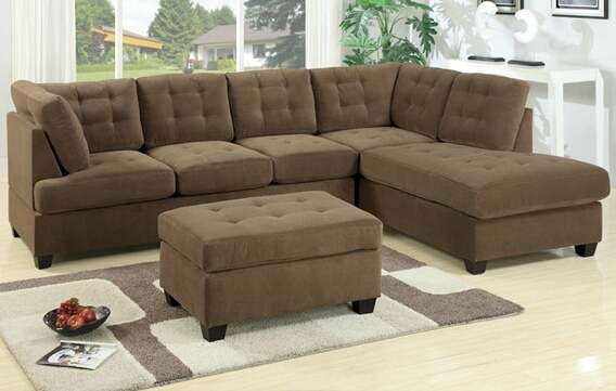 F7140 2 pc Truffle waffle suede fabric upholstered reversible sectional sofa with chaise lounger