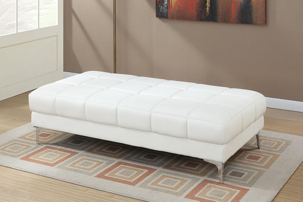 Poundex F7229 Orren ellis hayden white bonded leather modern ottoman