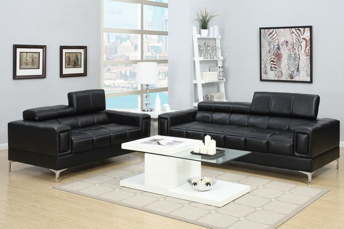 F7239 2 pc Chelsea collection black bonded leather sofa and love seat set with adjustable headrests