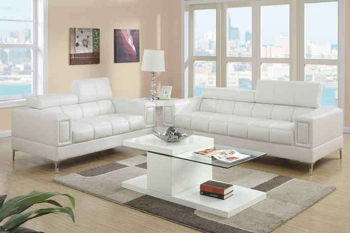 F7240 2 pc Chelsea collection white bonded leather sofa and love seat set with adjustable headrests