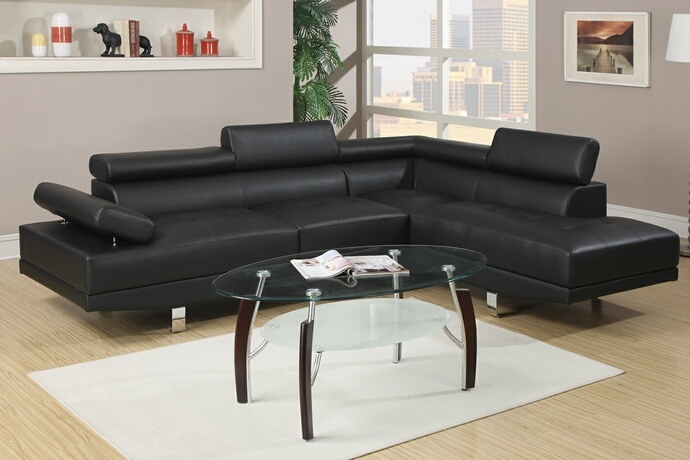 F7310 2 pc zorba modern style black leather like vinyl sectional sofa with adjustable headrests and tufted seats with chrome legs