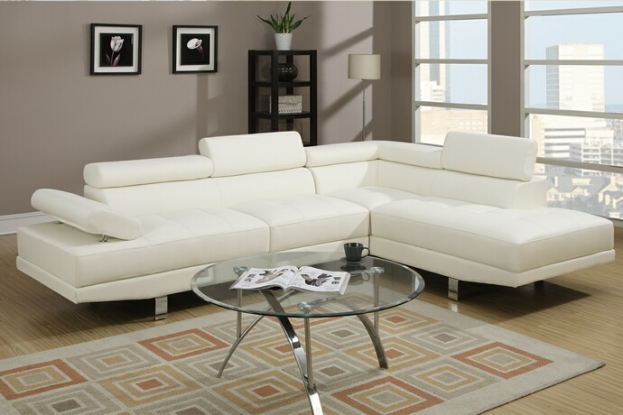 F7320 2 pc Zorba modern style white leather like vinyl Sectional sofa with adjustable headrests and tufted seats with chrome legs