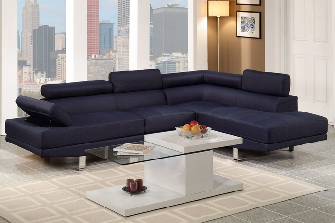 F7569 2 pc Zorba collection modern style Blue blended linen fabric upholstered sectional sofa with adjustable headrests and tufted seats with chrome legs