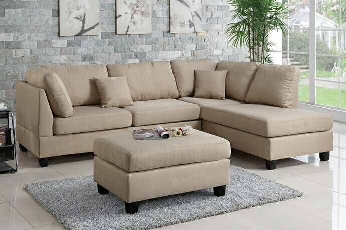 F7605 3 pc martinique collection sand polyfiber fabric upholstered sectional sofa with reversible chaise and ottoman