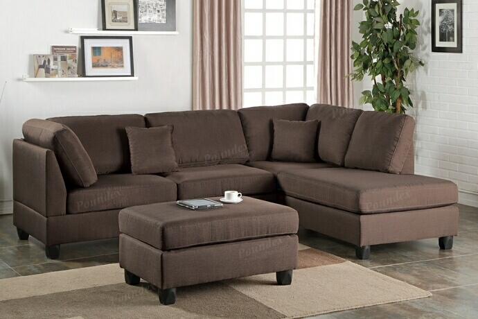 F7608 3 pc Martinique collection chocolate polyfiber fabric upholstered sectional sofa with reversible chaise and ottoman