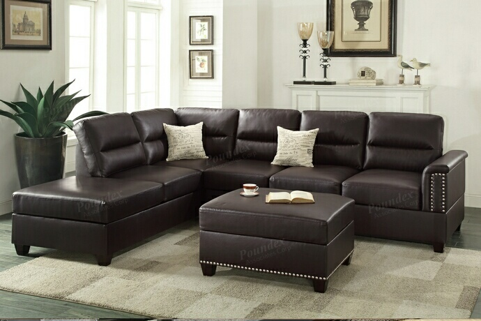 F7609 3 pc Collette collection espresso bonded leather upholstered sectional sofa with nail head trim accents