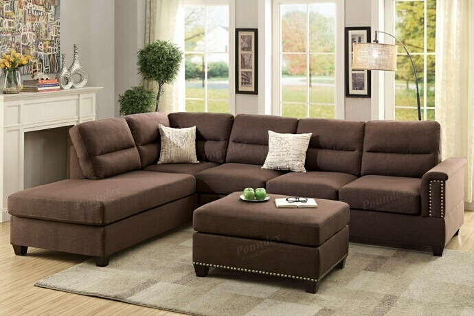 F7613 3 pc collette collection chocolate polyfiber linen like fabric upholstered sectional sofa with nail head trim accents