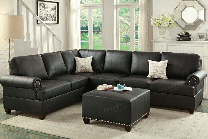 F7769 2 pc Kathryn collection black bonded leather upholstered reversible sectional sofa with nail head trim