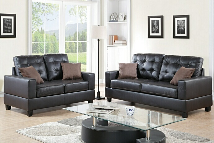 F7857 2 pc Collette collection espresso faux leather upholstered sofa and love seat set