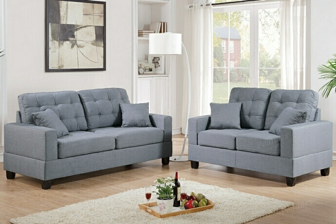 F7858 2 pc collette collection grey faux linen fabric upholstered sofa and love seat set