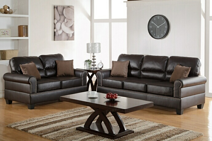 F7878 2 pc Collette collection espresso bonded leather upholstered sofa and love seat set with nail head trim and rounded arms