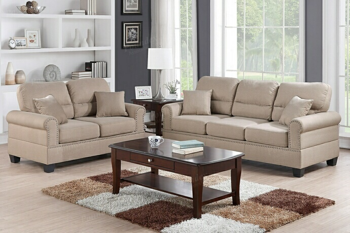 F7879 2 pc collette collection sand polyfiber fabric upholstered sofa and love seat set with nail head trim and rounded arms