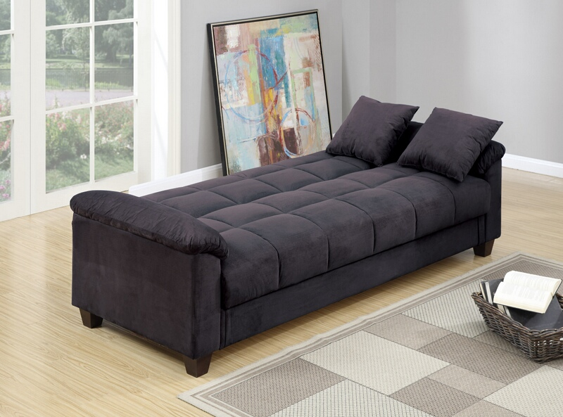 F7888 Jasmine collection ebony microfiber fabric upholstered adjustable storage sofa futon