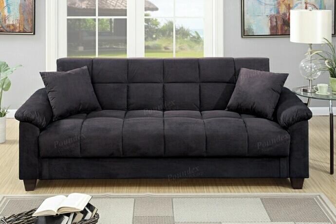 F7888 Jasmine collection ebony microfiber fabric upholstered adjustable storage sofa futon