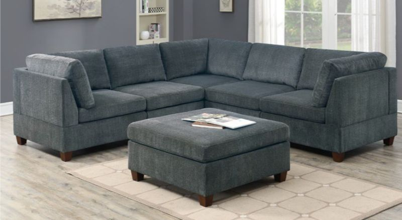 Poundex F821 6 pc Latitude run mckenny gray chenille fabric modular sectional sofa