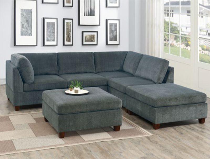 Poundex F822 6 pc Latitude run mckenny gray chenille fabric modular sectional sofa