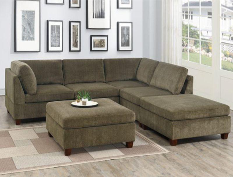 Poundex F824 6 pc Latitude run mckenny tan chenille fabric modular sectional sofa