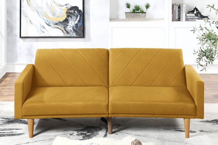 Poundex F8505 AJ homes studio lakeview winston porter kasen mustard polyfiber sofa futon