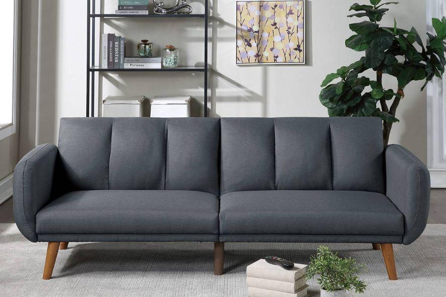 Poundex F8512 AJ homes studio lakeview winston porter kasen blue grey polyfiber sofa futon