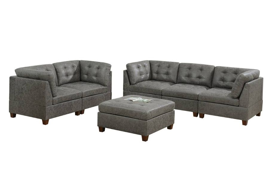 Poundex F852 6 pc Latitude run mckenny antique grey leather like fabric modular sectional sofa