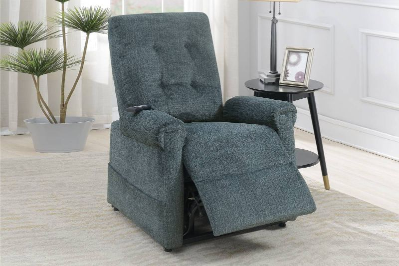 Poundex F86003 Joy Kona gray comfortable soft chenille power lift recliner chair