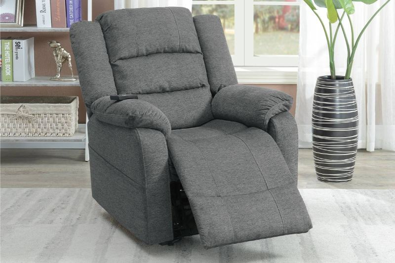 Poundex F86005 Joy Kona slate comfortable soft velvet power lift recliner chair