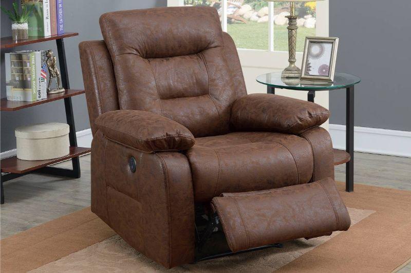 Poundex F86024 Joy Kona II dark brown leather like fabric power motion recliner with USB power plug on side
