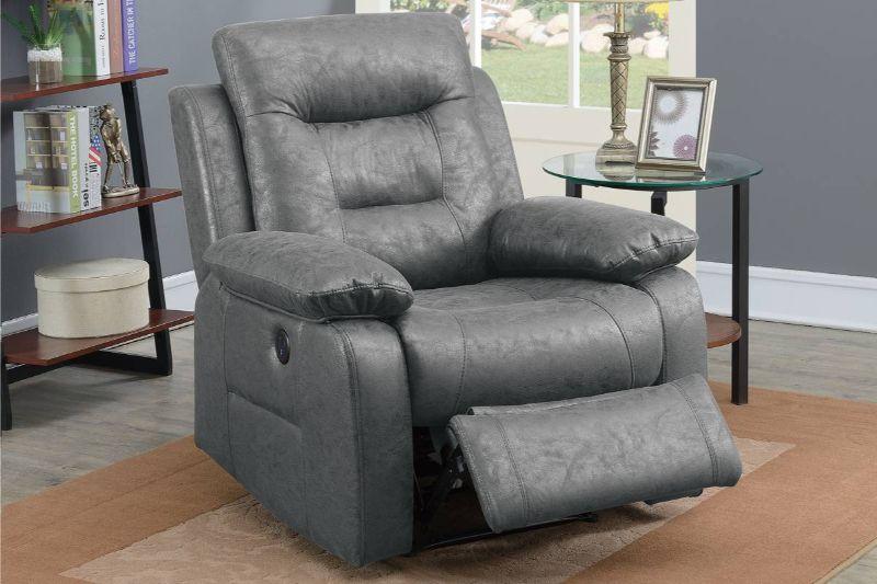 Poundex F86026 Joy Kona II gray leather like fabric power motion recliner with USB power plug on side