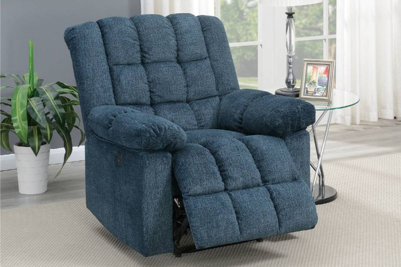 Poundex F86030 Joy Kona dark blue chenille fabric power motion recliner with USB power plug on side