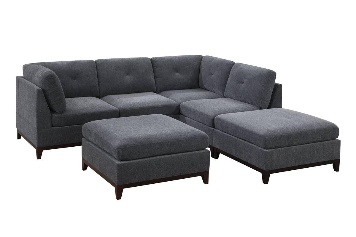 Poundex F862 6 pc Latitude run mckenny ash grey chenille fabric modular sectional sofa
