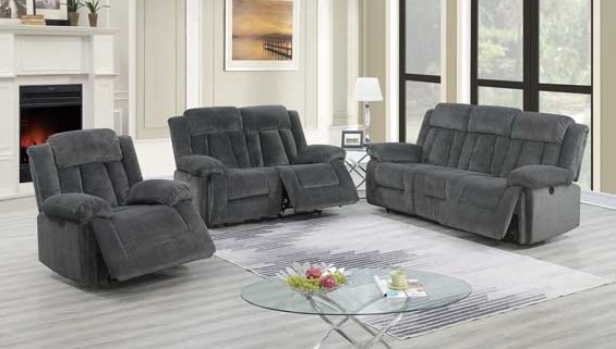 F86202-03 2 pc Latitude run power motion grey chenille sofa and love seat set recliner ends