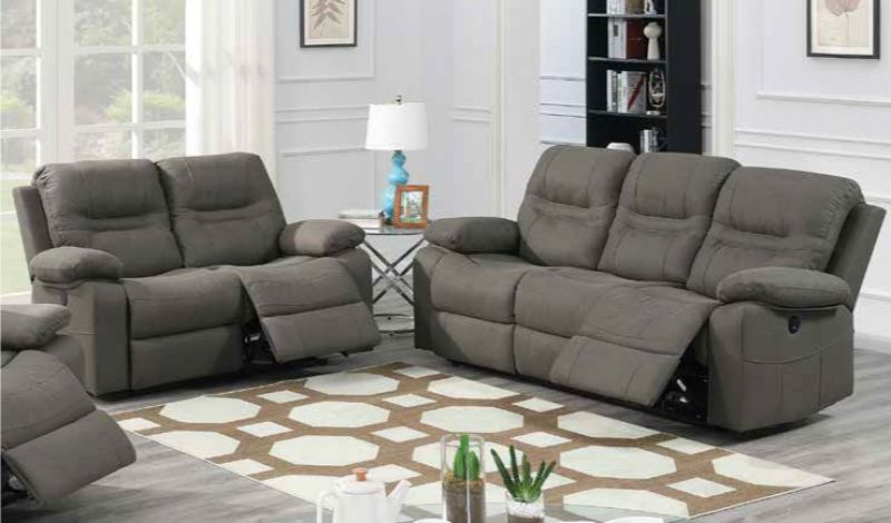 Poundex F86242-43 2 pc Latitude run power motion slate blue leatherette sofa and love seat set recliner ends