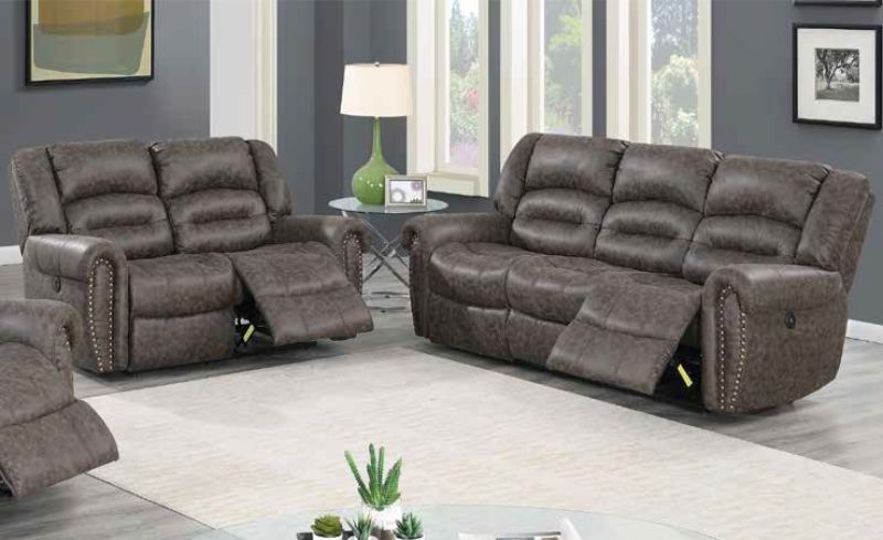 Poundex F86262-63 2 pc Latitude run power motion taupe palomino fabric sofa and love seat set recliner ends