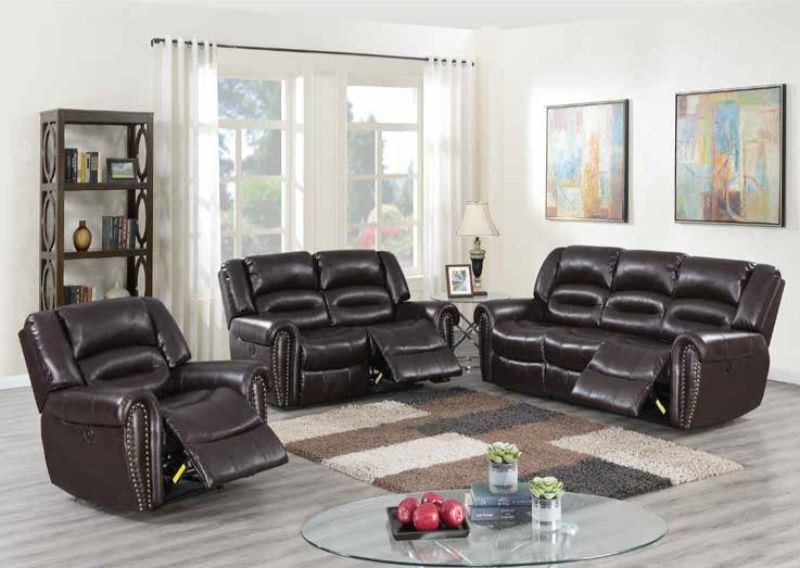 Poundex F86268-69 2 pc Latitude run power motion brown bonded leather sofa  and love seat set recliner ends