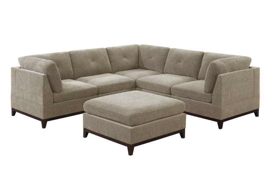 Poundex F863 6 pc Latitude run mckenny camel chenille fabric modular sectional sofa