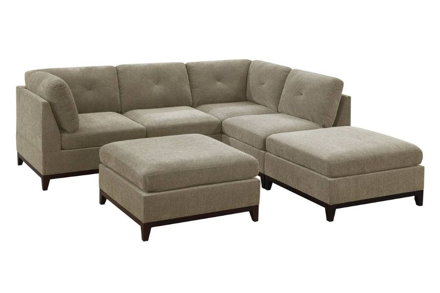 Poundex F864 6 pc Latitude run mckenny camel chenille fabric modular sectional sofa