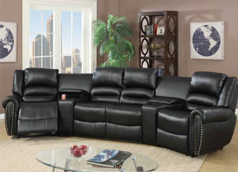 Poundex F86602 5 pc Breese collette black bonded leather power motion  theater sectional sofa with recliners