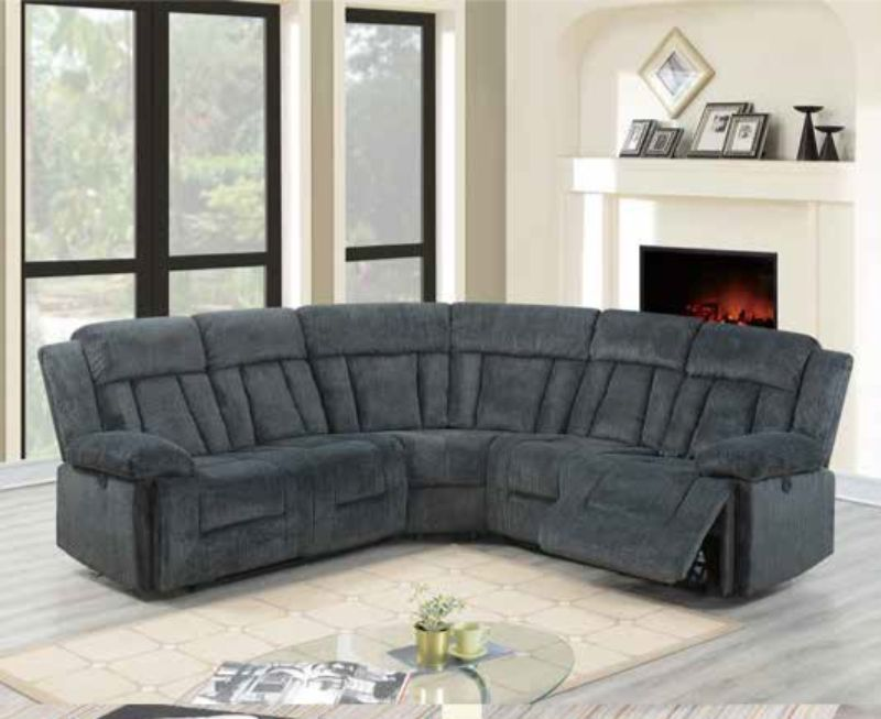 Poundex F86605 3 pc Restin palace gray chenille power motion sectional sofa