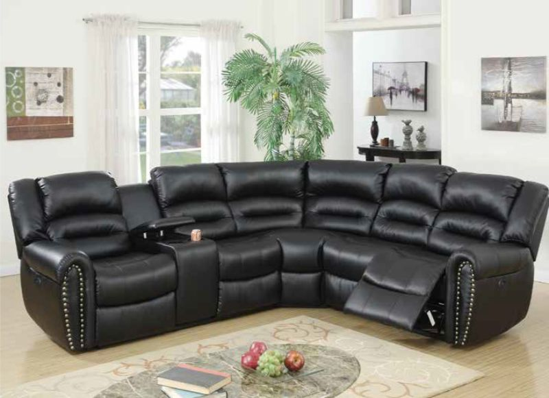Poundex F86612 3 pc Briston black bonded leather power motion sectional sofa with console