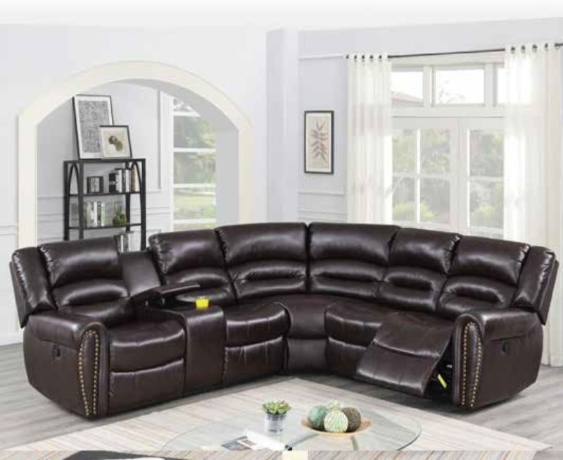 Poundex F86613 3 pc Briston brown bonded leather power motion ...