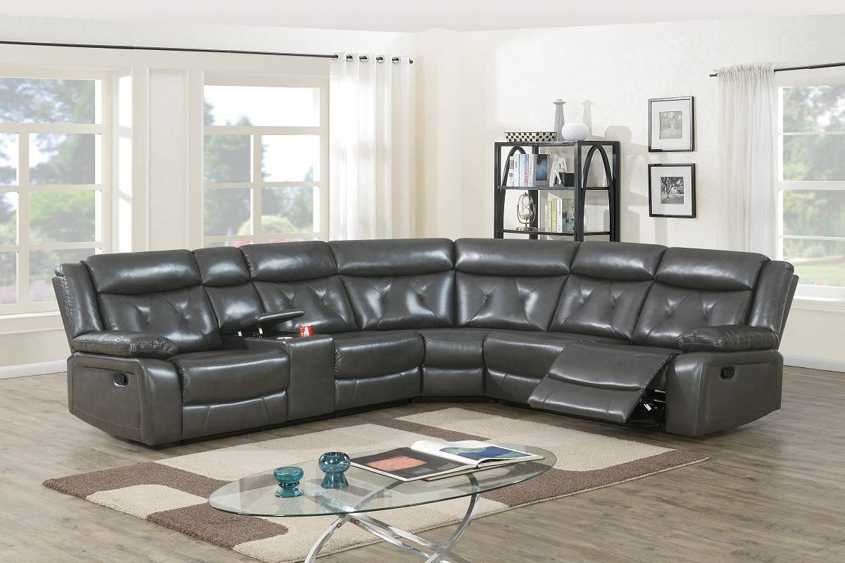 Poundex F8750 3 pc Red barrel studio Jubilee taupe gel leatherette standard motion sectional sofa with console