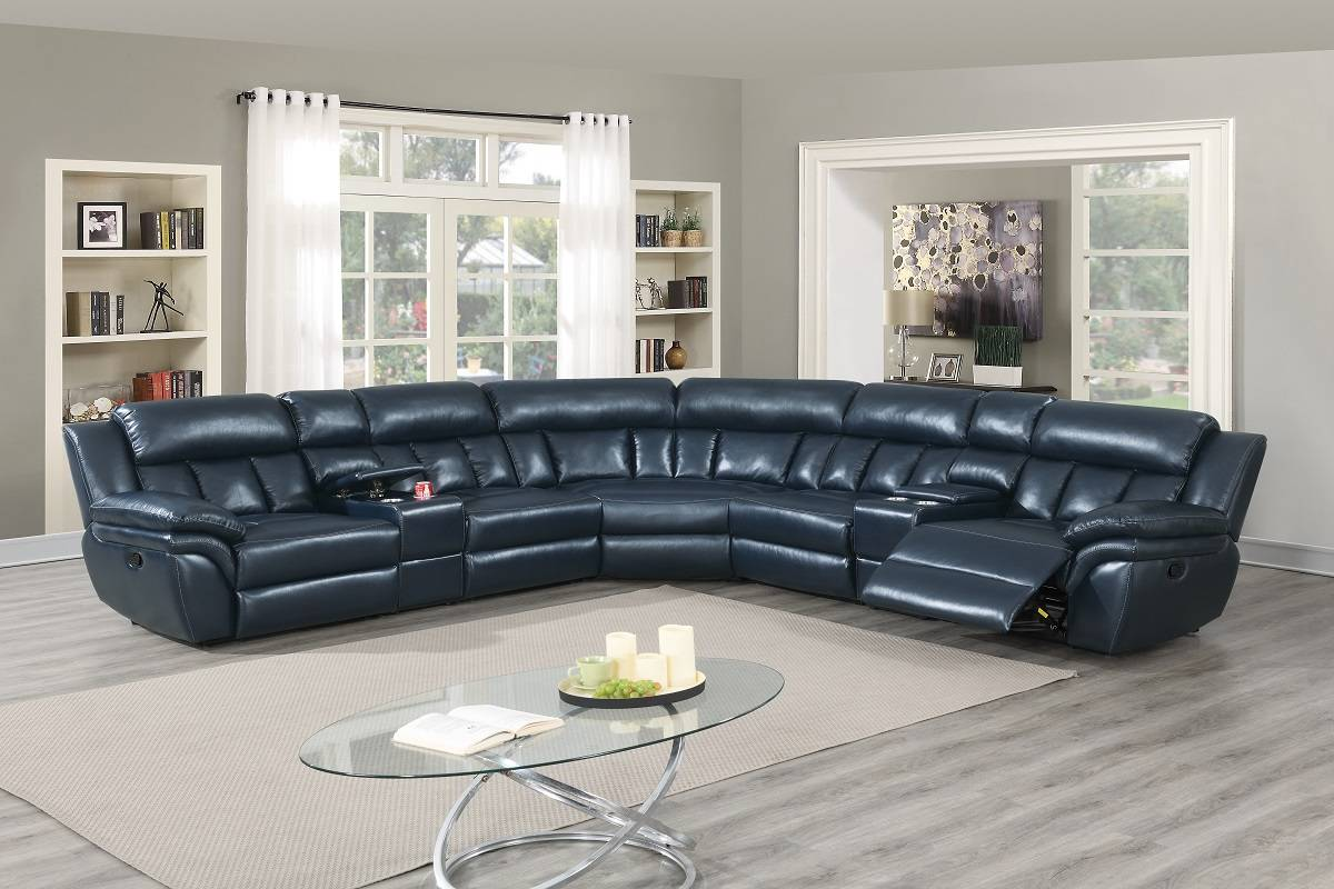 Poundex F8700 3 pc Red barrel studio jacqueline navy blue gel leatherette standard motion sectional sofa with consoles