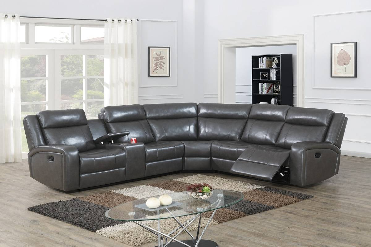 Poundex F86627 3 pc Red barrel studio Jubilee taupe gel leatherette power motion sectional sofa with console