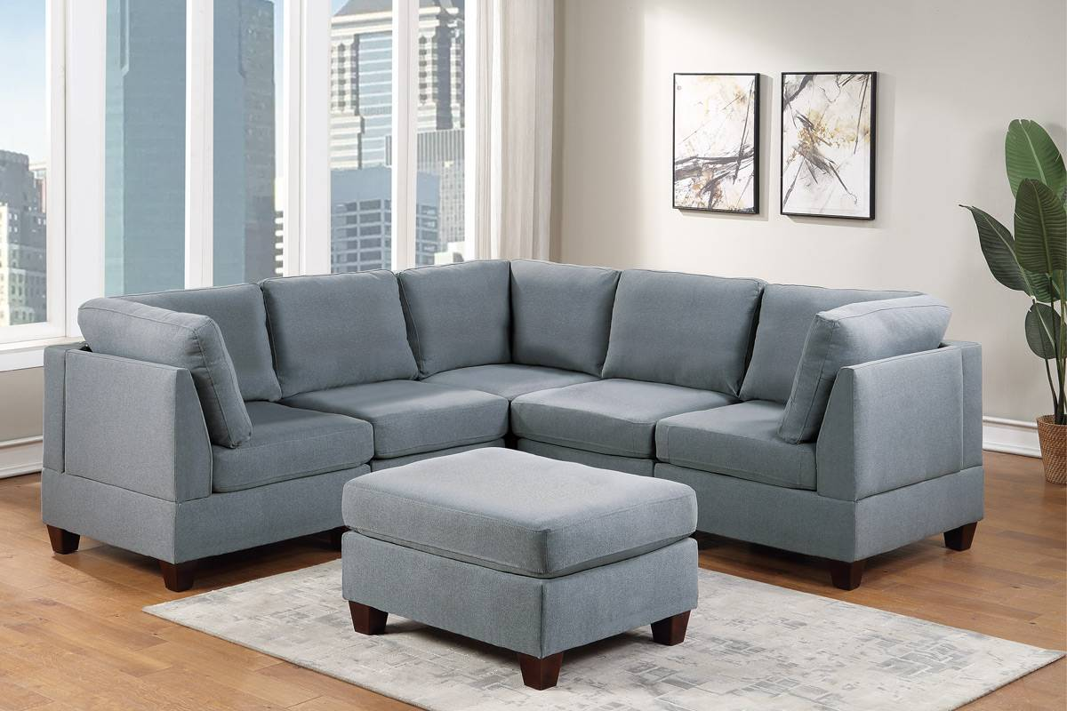 Poundex F881 6 pc Latitude run mckenny grey linen like fabric modular sectional sofa set